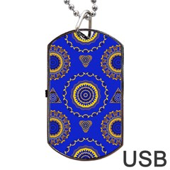 Abstract Mandala Seamless Pattern Dog Tag USB Flash (Two Sides)