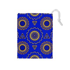 Abstract Mandala Seamless Pattern Drawstring Pouches (Medium)