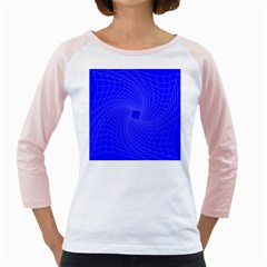 Blue Perspective Grid Distorted Line Plaid Girly Raglans