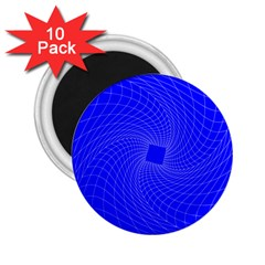 Blue Perspective Grid Distorted Line Plaid 2 25  Magnets (10 Pack)