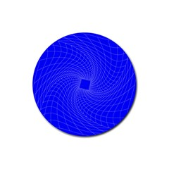 Blue Perspective Grid Distorted Line Plaid Rubber Round Coaster (4 Pack)