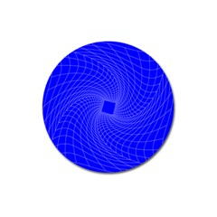 Blue Perspective Grid Distorted Line Plaid Magnet 3  (round)