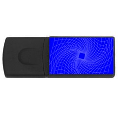 Blue Perspective Grid Distorted Line Plaid Usb Flash Drive Rectangular (4 Gb)