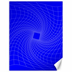 Blue Perspective Grid Distorted Line Plaid Canvas 12  X 16