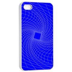 Blue Perspective Grid Distorted Line Plaid Apple Iphone 4/4s Seamless Case (white)