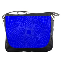 Blue Perspective Grid Distorted Line Plaid Messenger Bags