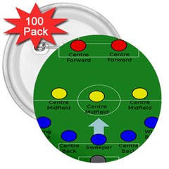 Field Football Positions 3  Buttons (100 Pack)
