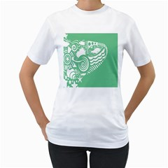 Fish Star Green Women s T Shirt (white) (two Sided)