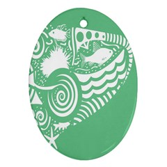 Fish Star Green Oval Ornament (two Sides)