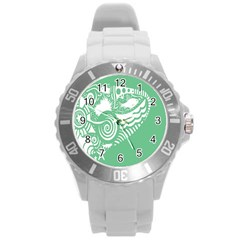 Fish Star Green Round Plastic Sport Watch (l)