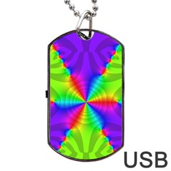 Complex Beauties Color Line Tie Purple Green Light Dog Tag Usb Flash (one Side)