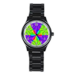 Complex Beauties Color Line Tie Purple Green Light Stainless Steel Round Watch