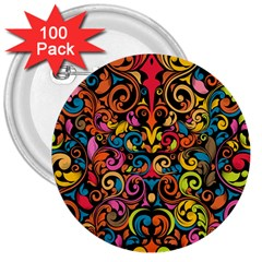 Chisel Carving Leaf Flower Color Rainbow 3  Buttons (100 Pack)