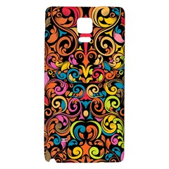 Chisel Carving Leaf Flower Color Rainbow Galaxy Note 4 Back Case