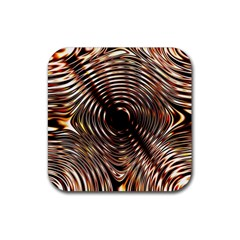 Gold Waves Circles Water Wave Circle Rings Rubber Square Coaster (4 Pack)