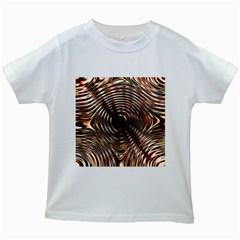 Gold Waves Circles Water Wave Circle Rings Kids White T Shirts