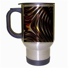 Gold Waves Circles Water Wave Circle Rings Travel Mug (silver Gray)