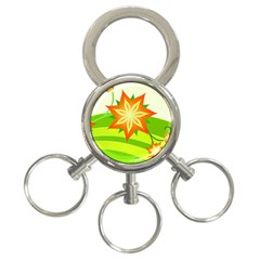 Graphics Summer Flower Floral Sunflower Star Orange Green Yellow 3 Ring Key Chains