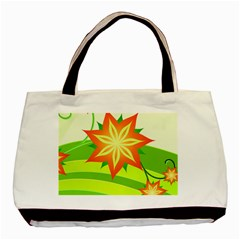 Graphics Summer Flower Floral Sunflower Star Orange Green Yellow Basic Tote Bag (two Sides)