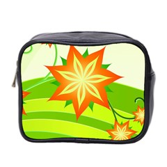 Graphics Summer Flower Floral Sunflower Star Orange Green Yellow Mini Toiletries Bag 2 Side