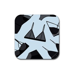 Grown Ups Guide To Underwear Opener Black Blue Rubber Coaster (square)