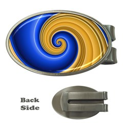 Golden Spiral Gold Blue Wave Money Clips (oval)