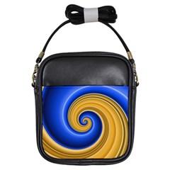 Golden Spiral Gold Blue Wave Girls Sling Bags