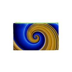 Golden Spiral Gold Blue Wave Cosmetic Bag (xs)