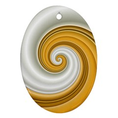 Golden Spiral Gold White Wave Ornament (oval)