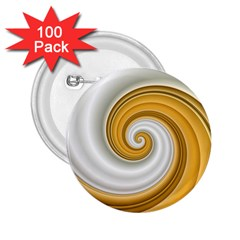 Golden Spiral Gold White Wave 2 25  Buttons (100 Pack)