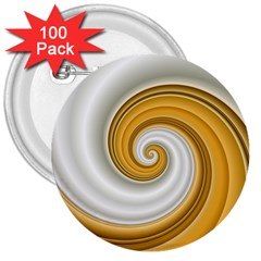 Golden Spiral Gold White Wave 3  Buttons (100 Pack)