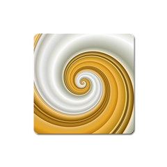 Golden Spiral Gold White Wave Square Magnet