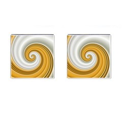 Golden Spiral Gold White Wave Cufflinks (square)
