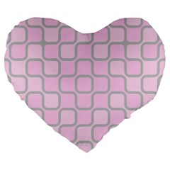 Light Pastel Pink Large 19  Premium Heart Shape Cushions