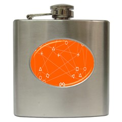 Leadership Deep Dive Orange Line Circle Plaid Triangle Hip Flask (6 Oz)