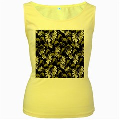 Flourish Floral Purple Grey Black Flower Women s Yellow Tank Top