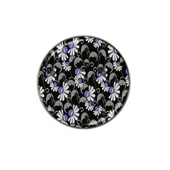 Flourish Floral Purple Grey Black Flower Hat Clip Ball Marker