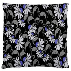 Flourish Floral Purple Grey Black Flower Large Cushion Case (two Sides)