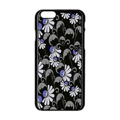 Flourish Floral Purple Grey Black Flower Apple Iphone 6/6s Black Enamel Case