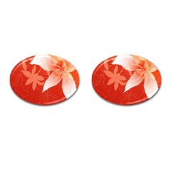 Lily Flowers Graphic White Orange Cufflinks (oval)