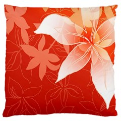 Lily Flowers Graphic White Orange Large Cushion Case (two Sides)