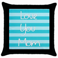 Love You Mom Stripes Line Blue Throw Pillow Case (black)
