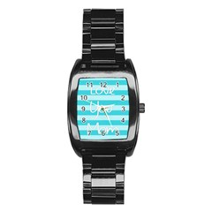 Love You Mom Stripes Line Blue Stainless Steel Barrel Watch