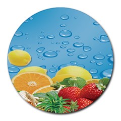 Fruit Water Bubble Lime Blue Round Mousepads