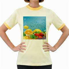 Fruit Water Bubble Lime Blue Women s Fitted Ringer T Shirts