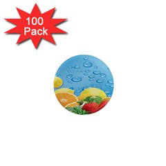 Fruit Water Bubble Lime Blue 1  Mini Magnets (100 Pack)