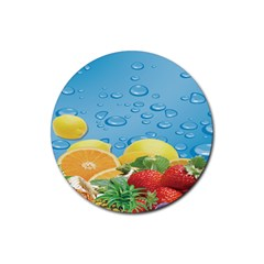 Fruit Water Bubble Lime Blue Rubber Coaster (round)