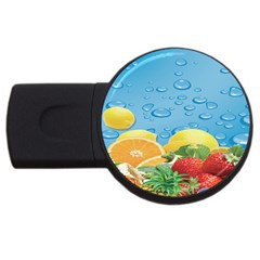Fruit Water Bubble Lime Blue Usb Flash Drive Round (2 Gb)