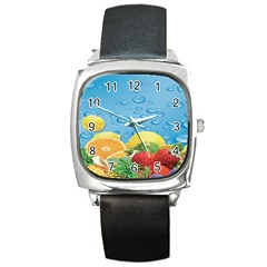 Fruit Water Bubble Lime Blue Square Metal Watch