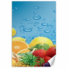 Fruit Water Bubble Lime Blue Canvas 24  X 36